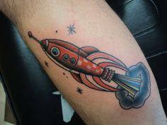 Jesus Cuesta tattoo - traditional spacecraft tattoo