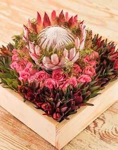 Order flowers online today for a same day delivery Flor Protea, Protea Flower, Art Floral, Floral Design, Church Wedding Flowers, Wedding Flower Decorations, Table Flowers, Flowers Garden, Wooden Flowers