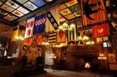 Comlongon Castle Medieval great Hall with heraldic banners for wedding ceremonies Keywords: #weddings #jevelweddingplanning Follow Us: www.jevelweddingplanning.com  www.facebook.com/jevelweddingplanning/
