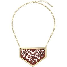 TopShop Cut-Out Wooden Triangle Necklace ($12) ❤ liked on Polyvore featuring jewelry, necklaces, brown, wooden jewelry, wooden necklace, cut out necklace, topshop jewelry and brown necklace