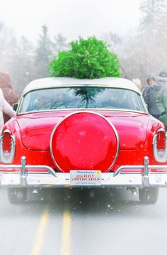 I love this vintage red car with a Christmas tree on top. I'm home for the holidays