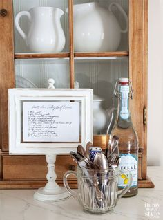 Make this framed recipe stand. Step-by-step photo tutorial.   Perfect for gift giving.