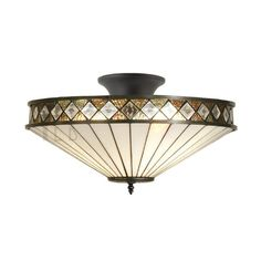Fargo Medium Tiffany Semi Flush Ceiling Light T004SH40 & SF01 by Interiors 1900. Discover our ranges of Tiffany Lamp, Art Deco and Traditional Lighting, free delivery.