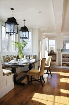 Love the built in/bench combo with the rustic table and love the lights!