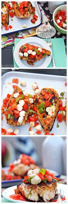 #HEALTHY Grilled Caprese Bruschetta Chicken.  The perfect meal for the #4thofJuly or any time! Balsamic, tomatoes, mozzarella, basil, DELICIOUS! (#easyrecipe) - The Cookie Rookie