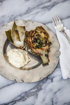 Grilled Artichokes with Lemon Garlic Aioli