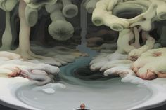 Artiste basée à Paris, Jung-Yeon Min peint des paysages fantastiques, à la fois beaux, intrigants et étranges. L'artiste d'origine coréenne joue avec la forme, l'espace, la perspective et l'échelle.  Elle utilise l'acrylique sur toile pour créer des scènes surréalistes remplies d'étendues de terres déformées, d'appendices charnus, dominant la vie organique… Ses peintures mélangent l'esthétique de l'Ouest et de l'Est, elles invitent le spectateur à explorer un monde aussi séduisant…