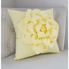 Light Yellow Dahlia Flower Pillow Decorative Spring Pastel Pillow Pale... ($35) ❤ liked on Polyvore featuring home, home decor and throw pillows