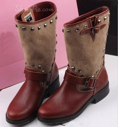 gotta have Stylish Contrast Color Rivets Flat Boots