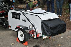 Survival camping tips Motorcycle Tent Trailer, Motorcycle Campers, Bike Trailer, Small Trailer, Tiny Trailers, Pull Behind Campers, Bike Cart, Teardrop Trailer, Teardrop Campers