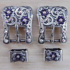 Swarovski buckle set antique silver purple velvet and crystal ab rodeo western horse tack belt purse breastcollar headstall bling crystal - Etsy BitofBlingConchos