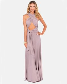 Versatility at its finest, the Tricks of the Trade Taupe Maxi Dress knows a trick or two! Long fabric lengths wrap into several bodice styles attached to a maxi-length skirt. Taupe Maxi Dress, Sexy Maxi Dress, Backless Maxi Dresses, Maxi Robes, Dress Skirt, Dress Prom, Prom Dresses, Wedding Dresses, Infinity Wrap Dresses