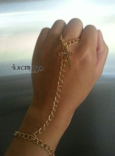 Wrist Ring in gold with gold cross by LoveMyssa on Etsy