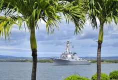 140307-N-WF272-086 PEARL HARBOR (March 07, 2014) The guided-missile destroyer USS O'Kane (DDG 77) departs Joint Base Pearl Harbor-Hickam for a deployment to the Western Pacific Ocean and Arabian Gulf. While deployed O'Kane will conduct Theatre Security Cooperation and maritime presence operations with partner nations. (U.S. Navy photo by Mass Communication Specialist 3rd Class Diana Quinlan/Released)