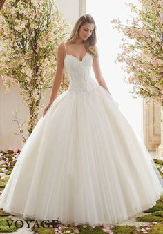 Voyage by Mori Lee 6838 Drop Waist Lace Ball Gown Wedding Dress