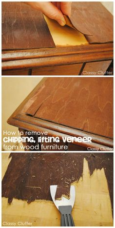 How to remove veneer from wood furniture (the easy way!) - Classy Clutter - How to remove veneer from wood furniture (the easy way!) – Classy Clutter How to remove veneer from furniture without losing you rmind! Furniture Fix, Refurbished Furniture, Repurposed Furniture, Furniture Projects, Furniture Making, Furniture Makeover, Diy Projects, Furniture Refinishing, Project Ideas