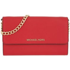 Michael Kors Shoulder Bag - Jet Set Travel LG Phone Crossbody Bright... ($180) ❤ liked on Polyvore featuring bags, handbags, shoulder bags, red, michael kors crossbody, man shoulder bag, crossbody tote, travel tote and michael kors tote