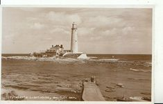 Northumberland Postcard - St Mary's Lighthouse - Whitley Bay - RP - Ref Picture Postcards, Vintage Pictures, Lighthouses, Cn Tower, Saints, Island, Travel, Viajes, Islands