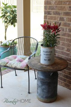 Wooden Spool and Milk Can Table - The Hamby Home Antique Milk Can, Vintage Milk Can, Porch Table, Diy Table, Milk Can Table, Rustic Decor, Farmhouse Decor, Milk Can Decor, Old Milk Jugs