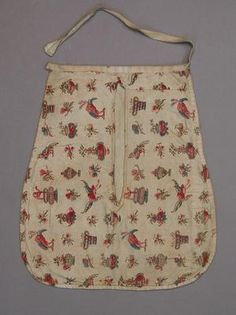 """""""Title: Pocket, single  Collection Gallery of Costume, Platt Hall, Manchester City Galleries  Date early 1800s  Description The front of this unusual pocket is made of plain weave cotton, printed with insects, exotic birds, urns and vases. The printed cotton has been used on its side. The back is made of plain weave cotton. The vertical opening is reinforced. A length of tape binds the top of the pocket and...""""  Museum Number MCAG.1948.248  http://www.vads.ac.uk/large.php?uid=94040=14"""