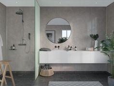 Bathroom Paneling, Bathroom Cladding, Bathroom Curtains, Grey Marble Bathroom, Grey Bathrooms, Scandinavian Tile, Stone Supplier, White Shower, Large Shower