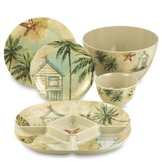 Beachcomber Melamine Dinnerware Now All I Need Is The Beach House Ping Tropical Sets