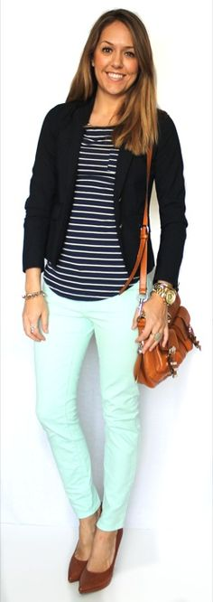 J's Everyday Fashion; featuring our Perfect Everyday Shirt in Navy Stripes.