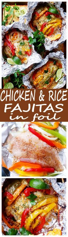 Chicken and Rice Fajitas in Foil – Incredibly delicious and easy to prepare fajitas with chicken, peppers, onions and rice all cooked in foil packets. Easy, quick and SO GOOD!(Chicken And Rice Recipes) Easy Chicken Breast Dinner, Chicken Breast Recipes Dinners, Chicken Recipes, Recipe Chicken, Foil Pack Meals, Foil Dinners, Pollo Al Bourbon, Mexican Food Recipes, Dinner Recipes