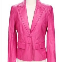 Ladies Leather Jacket Large ladies HOT PINK brushed suede leather jacket by Worthenington.  Brand new never worn due to weight loss.  Would look great with a dressy tank, jeans and of course a pair of heels!  Worthington Jackets & Coats Blazers