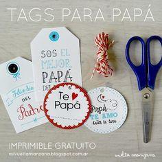 Tags para papá - Imprimible gratuito Día del Padre ::: Vuelta Manzana :::