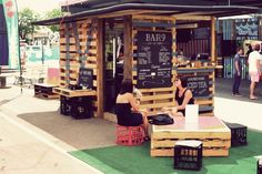 Its a pop-up coffee and tea bar.  No place for the bouncer to sit.--Popup Republic