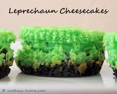 Mini Leprechaun Cheesecake Recipe - Discover how easy it is to mix up a batch of miniature cheesecakes that would make great St. Patrick's Day treats. (http://mothers-home.com/mini-leprechaun-cheesecake-recipe/)