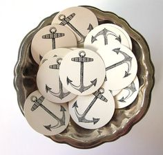 Anchor Stickers One Inch Round Seals by PetitePaperie on Etsy, $1.50