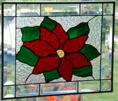 Stained glass panel window poinsettia clear stained glass window panel window hanging Christmas