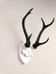 Large Faux Taxidermy Deer Antler Mount White by NearAndDeer
