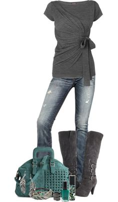 Love this top and jeans! I love the wrap style and the bow and the focus on the midsection. I am too petite for these types of boots. The boots would end up wearing me.
