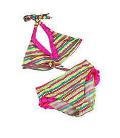 351a38c8d63 Striped Swimwear for girls two pieces bathing suit biquini infantil menina  kids spilit Swimsuit 3 Colors Girl Bikini set
