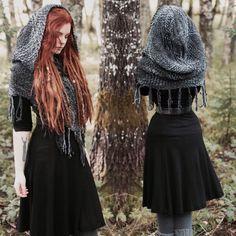 LAST ONE Woven hooded capelet Hooded shawl Oversized viking Witch Fashion, Gothic Fashion, Medieval Fashion, Fashion Cape, Pagan Fashion, Fall Fashion, Mode Mori, Viking Hood, Mori Fashion