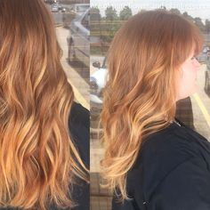 Color, cut, and style done by Amberly Colina at American Salon & Spa in Gainesville, Georgia. #redhead #ginger #ombre #strawberry #highlights #natural #balayage #aveda