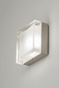 Plafondlamp 53831 modern retro glas helder glas mat glas staal rvs vierkant