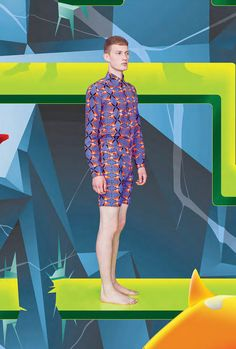 Raphael Hauber's Spring/Summer 2013 collection plays with the idea of living in paradise. All over prints show parrots and flamingos in kaleidoscope effect. The range of colours are mint green, lemon, blue, neon orange, ecru and black. The collection includes printed  silk/cotton shirts and vests, linen parka coats, worker vests and pants, printed jeans and shorts and t-shirts in linen and cotton Jersey.
