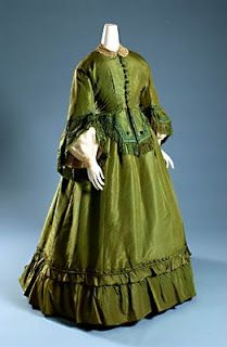 """1865 """"Poison Green"""" silk dress dyed with arsenic. I guess this was a dress to die for!"""