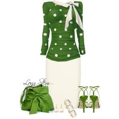 Adorable spring work outfit. Spring Green and Cream. Love the bag, shoes... everything. Created by longstem on Polyvore