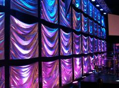 Joey Riggins from Lighthouse Church in Panama City Beach, Florida brings us this backdrop sporting silver, fabric squares. Stage Set Design, Church Stage Design, Youth Decor, Royal Ballet, Dark Fantasy Art, Stage Props, Stage Background, Stage Decorations, Scenic Design