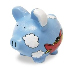 Personalized Little Aviator Airplane Piggy Bank - Small   Dibsies Personalization Station