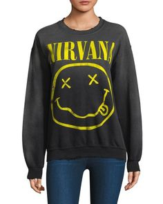 60abb2194d9 Lyst - Madeworn Nirvana Cotton Sweatshirt in Black $195 From Saks Crew Neck  Sweatshirt, Graphic