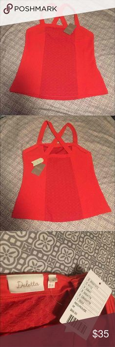 NWT anthropology  fitted tank top Beautiful color and fit. The tag says red but it's more orange/ burnt orange. Anthropologie Tops Tank Tops