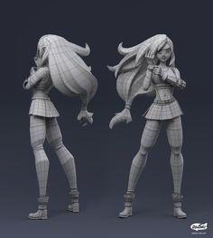 3d Model Character, Character Poses, Character Modeling, Character Concept, Character Art, Maya Modeling, Blender 3d, Blender Models, Tifa Lockhart