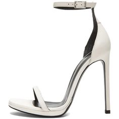 Saint Laurent Jane Leather Ankle Strap Sandals ($795) ❤ liked on Polyvore featuring shoes, sandals, heels, zapatos, high heels, heeled sandals, leather ankle strap sandals, high heeled footwear, high heel shoes and calfskin shoes