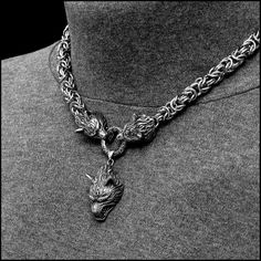 Viking Royalty Thick Chainmaille Necklace with Snarling Wolf Head Ends and Snarling Wolf Head Pendant Wolf Necklace, Necklace Sizes, Necklace Lengths, Wolf Jewelry, Viking Jewelry, Snarling Wolf, Viking Braids, Black Highlights, Stainless Steel Rings